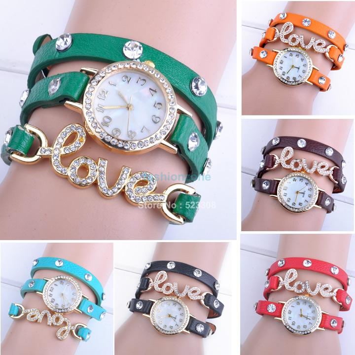 2014 hot Fantastic Women Girl Love Cz Dial Wrap Around Synthetic Leather Bracelet Wrist Watch plus خرید ساعت دستبندی دخترانه گوچی با پلاک عشق